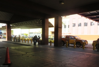 There are always taxis in the area beyond the buses.