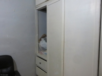 There is a built in closet and drawer storage area in the bedroom.