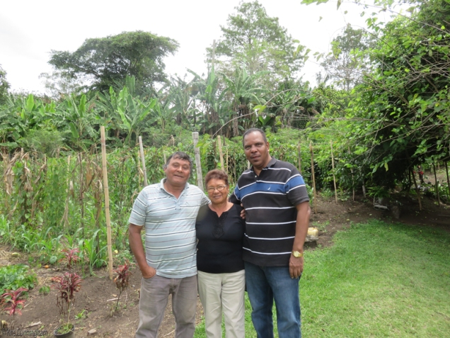 Cedo with her brother on her right, and a brother-in-law on the left who was visiting that day.