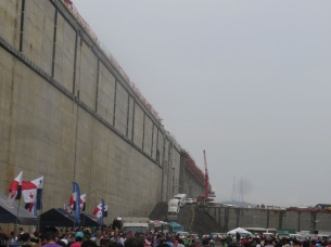 Looking north from where we were, we could see more buses coming down into the lock.