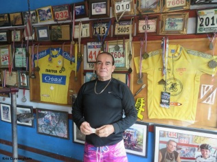 Condor puts on his most serious face as he poses in front of his wall of photos with famous cyclists and other racing awards. He says they always come to the races in Chiriqui every year. He has my contact info so with any luck, he will get in touch and maybe we can host one or two of the team!