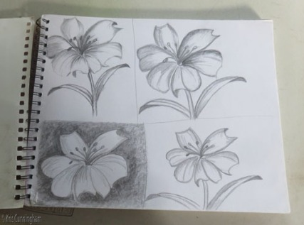My first class! He drew the flower in the upper left, and I attempted to copy it.