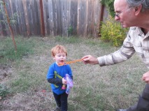 Blowing bubbles from the wand is also fun.