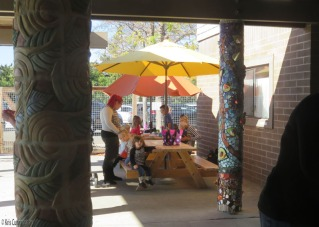 There is a nice picnic area outdoors too. Notice the pretty pillars along the walkway.