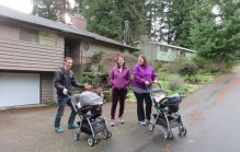 We decided to go out for a walk, the two moms, two babies, grandma, and Drew who was very tolerant of a house full of nothing but females, even including the cats!