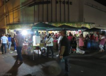 More people enjoy the warm evening and shop
