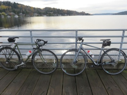 My son in law's commuting bike is on the left, and my daughter's bike is on the right, which she has been kind enough to let me borrow.