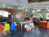 Here is the main floor sitting area and children's library.