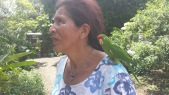 Elizabeth and her parrot CoochiCoochi