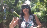 Martine and one of the parrots