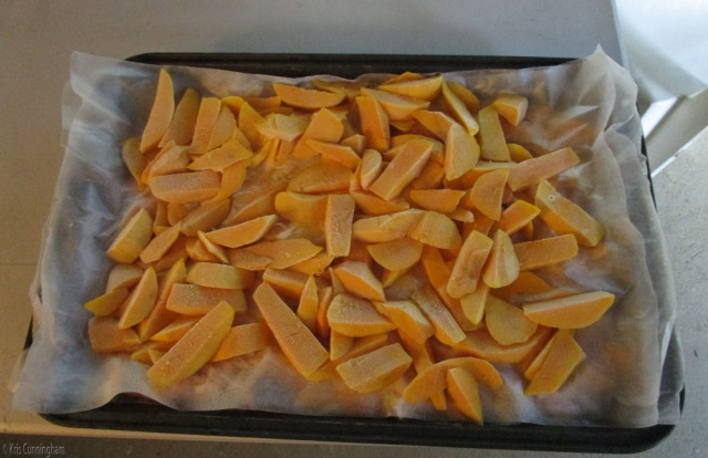 Frozen mangoes ready to put in bags