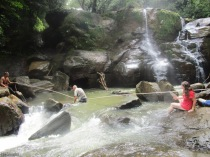 The next objective was to cross the river and make your way up to the upper waterfall