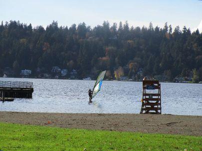 Someone windsurfing