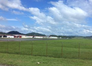 We pass th Albrook airport just down the road from the bus station
