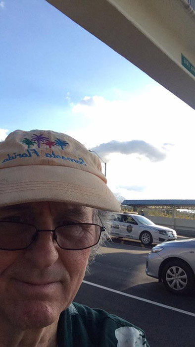 Joel took a selfie while he was waiting. He was at the checkpoint on Via Boquete at the Caldera road intersection.