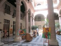 lobby of the hotel with an art show