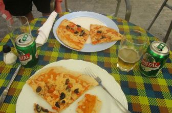 pizza and beer. we like this local beer