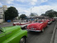 Apparently a large group had hired a whole fleet of convertibles for a tour