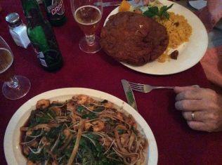 shrimp chow mein, loaded with shrimp! Joel's chicken cordon bleu, half got taken home