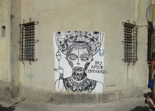 more street art - peace, love, hope