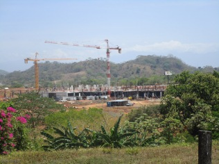 the bus terminal, with construction cranes