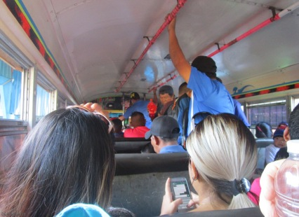 The bus was standing room only