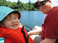 We rented a paddle boat and went out on the lake. Camden smiled for the camera (I think he's better at candid shots)