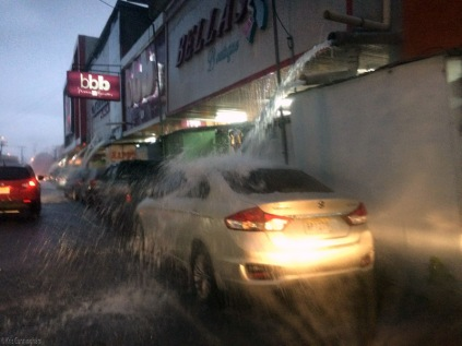 If you park under a downspout in a rainstorm, your car will get very clean!