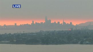 A very smokey sunset in San Francisco.