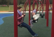 These interesting swings are one piece so you can easily swing with your child