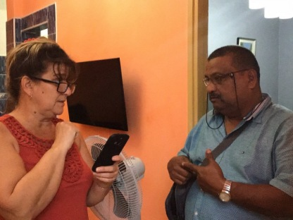 Lucho talks with the assistant to our host. I was so thankful because I couldn't understand a lot of what she said.
