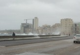 Water splashed over the sea wall. We didn't stay long.