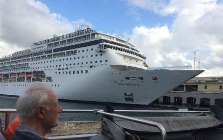 We saw two cruise ships at the dock. This MSC Armonia leaves from Miami and cruises around the Caribbean