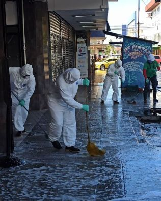 cleaning the downtown streets and sidewaks